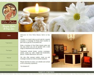 website design for cleopatra spa