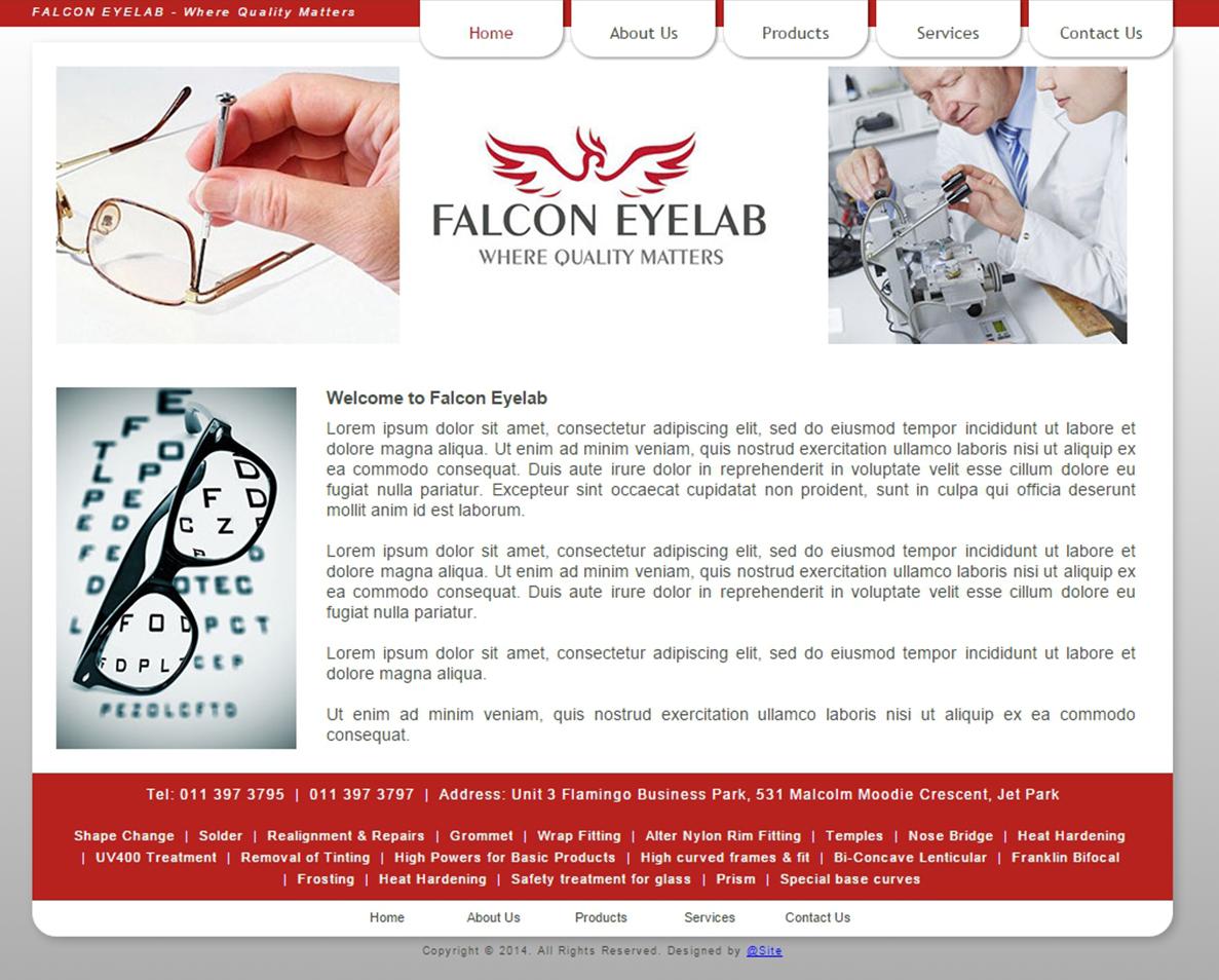 website design for falcon eyelab