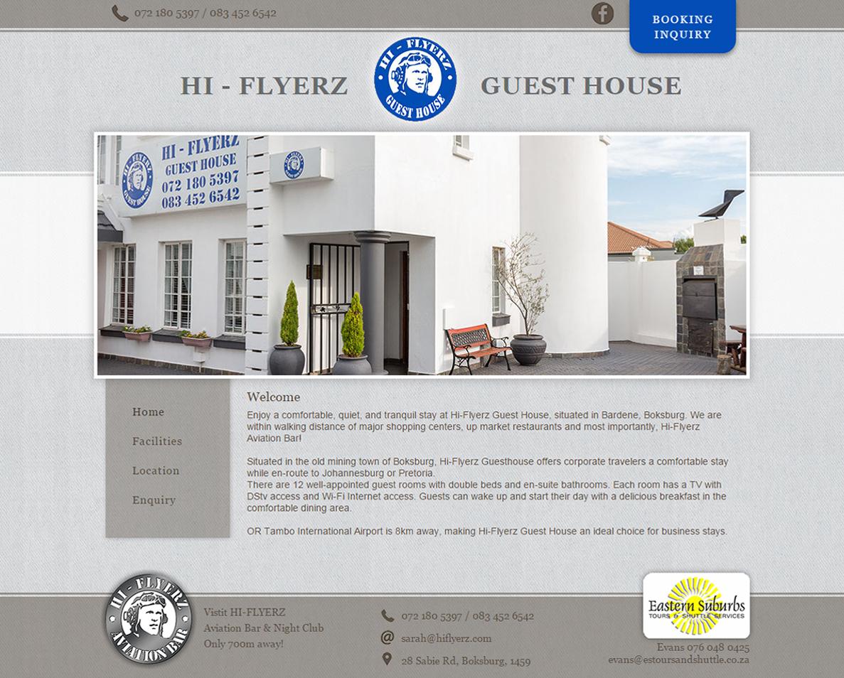 website design for hiflyerz guesthouse