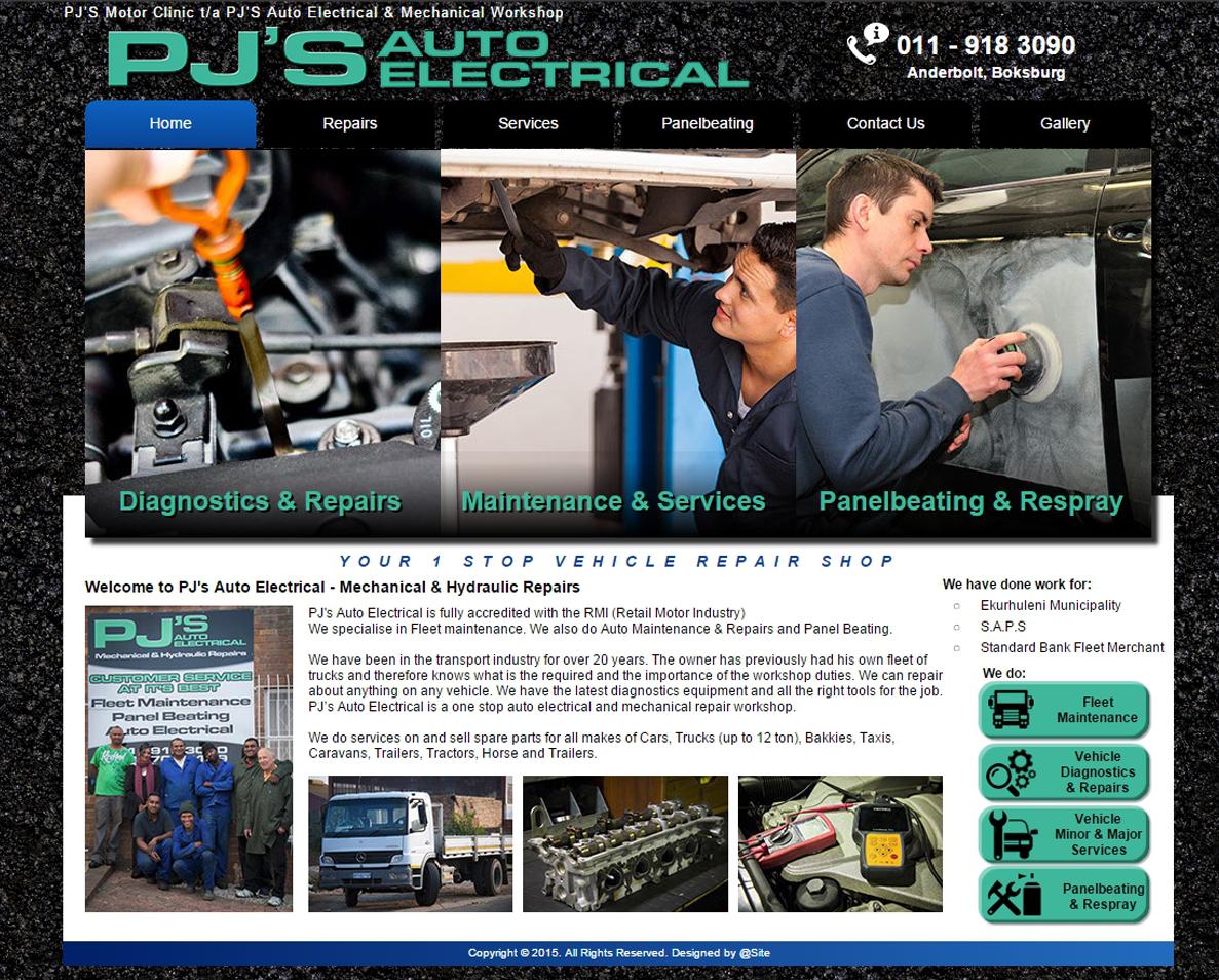 website design for pjs auto