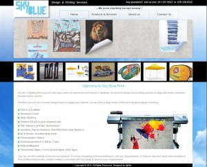 website design for sky blue print