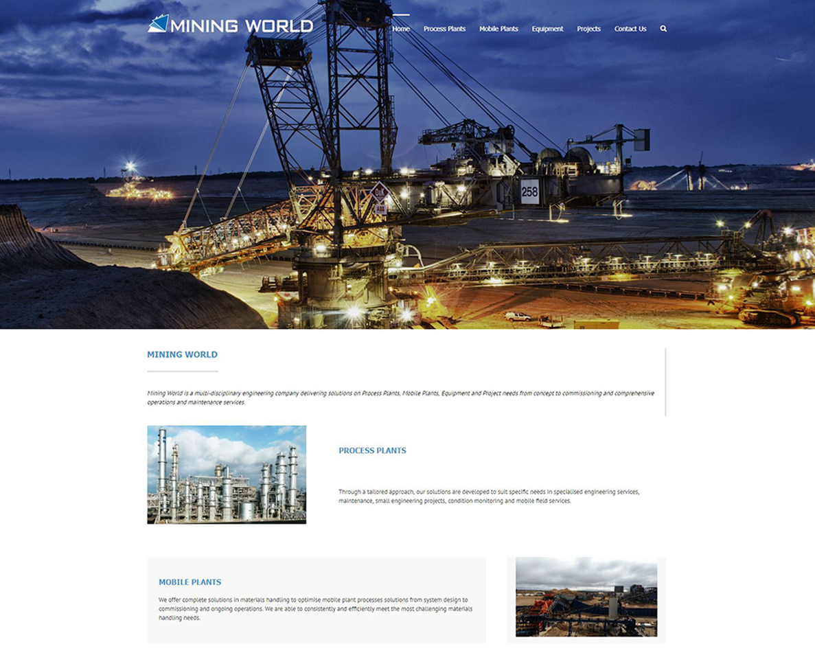 website design for mining world