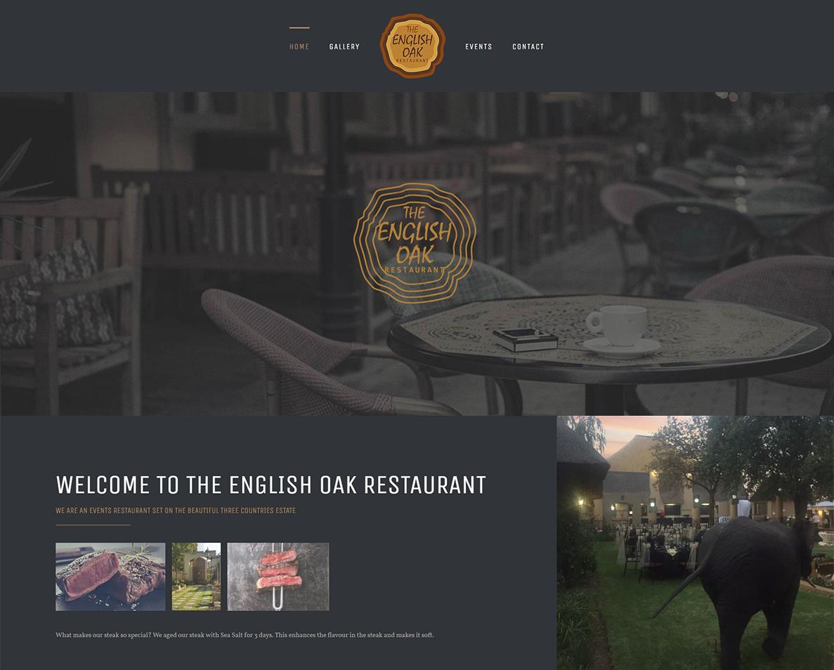 website design for the english oak restaurant