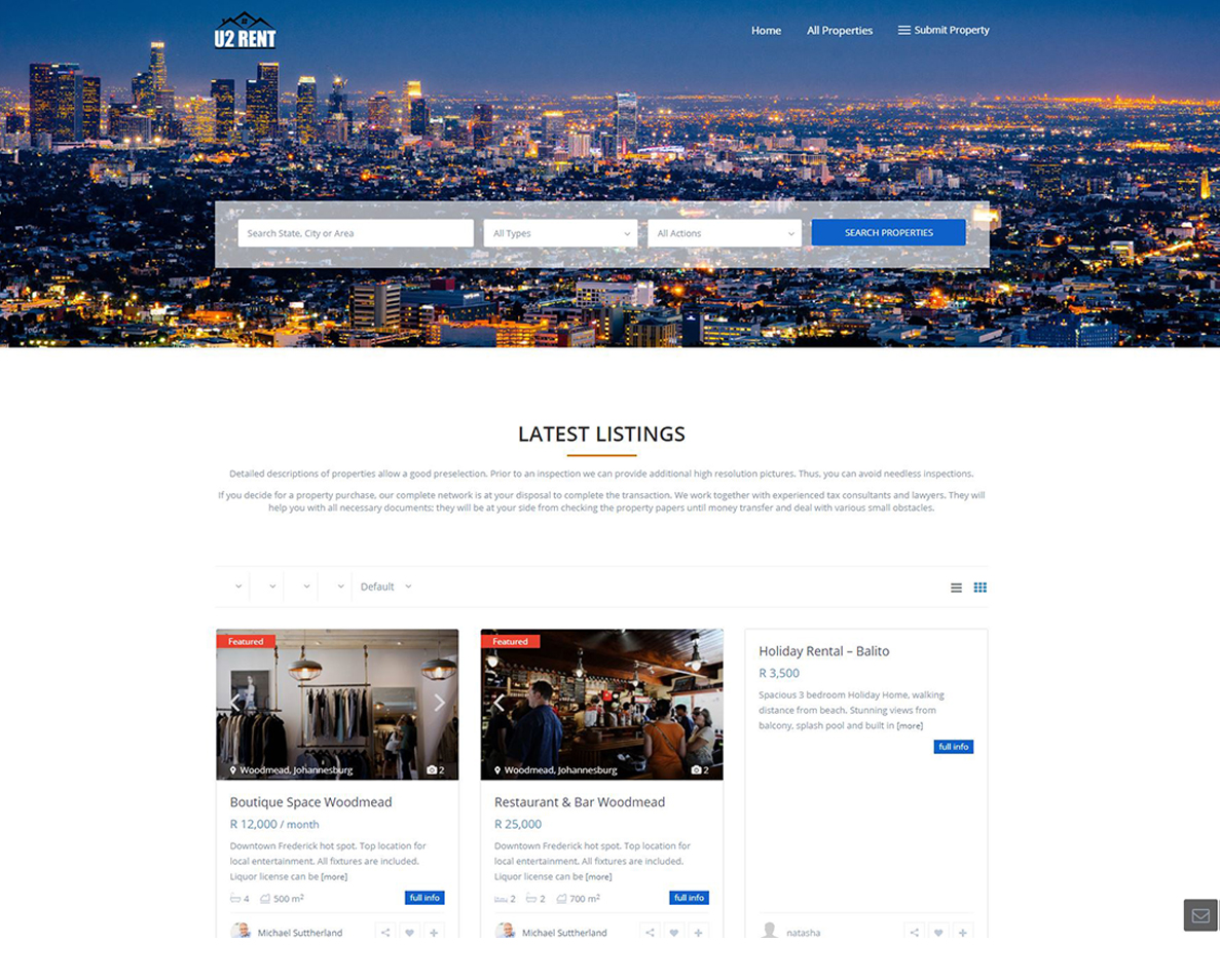 website design for u2 rent