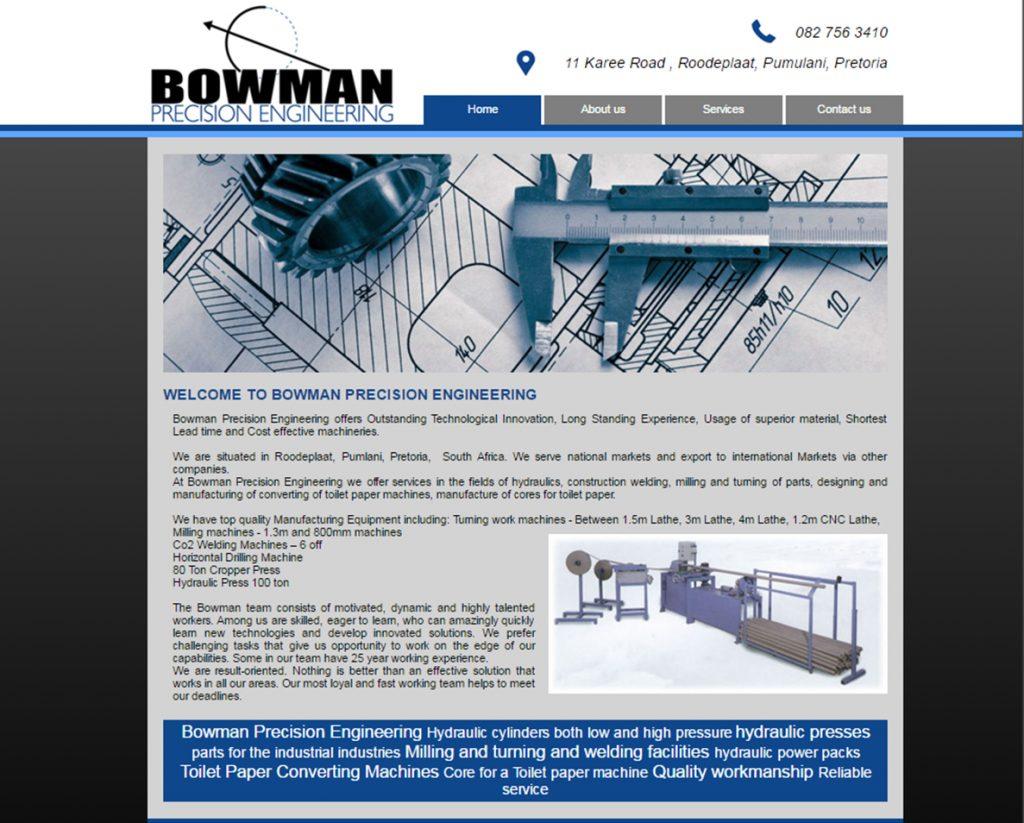 website design for bowman engineering