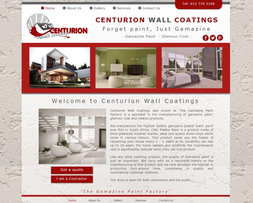 website design for centurion wall coatings