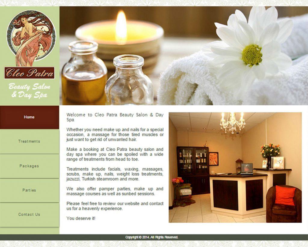 website design for cleopatra spa