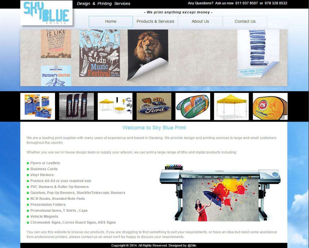 website design for sky blue print