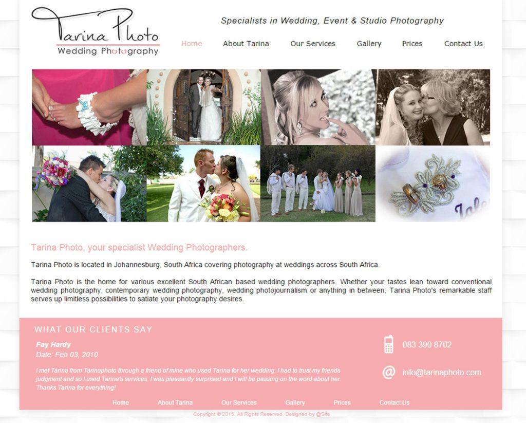 website design for tarina photo