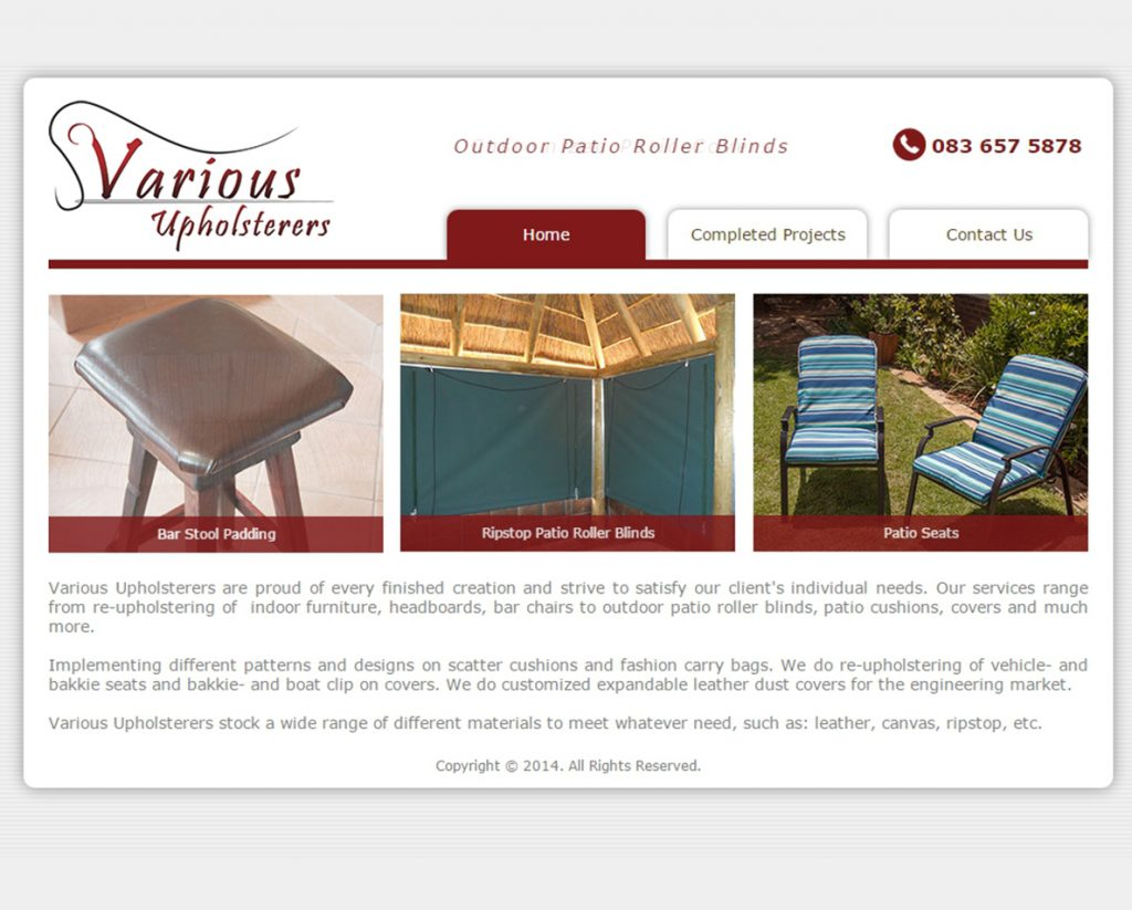 website design for various upholsterers