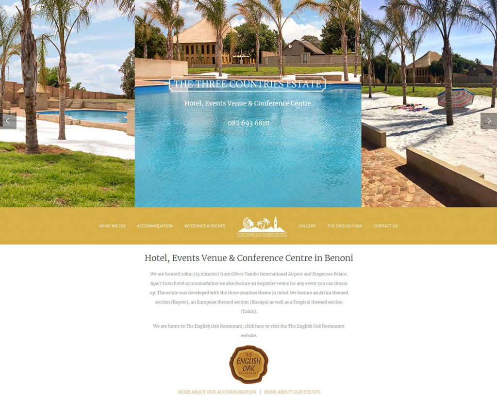 website design for the three countries estate